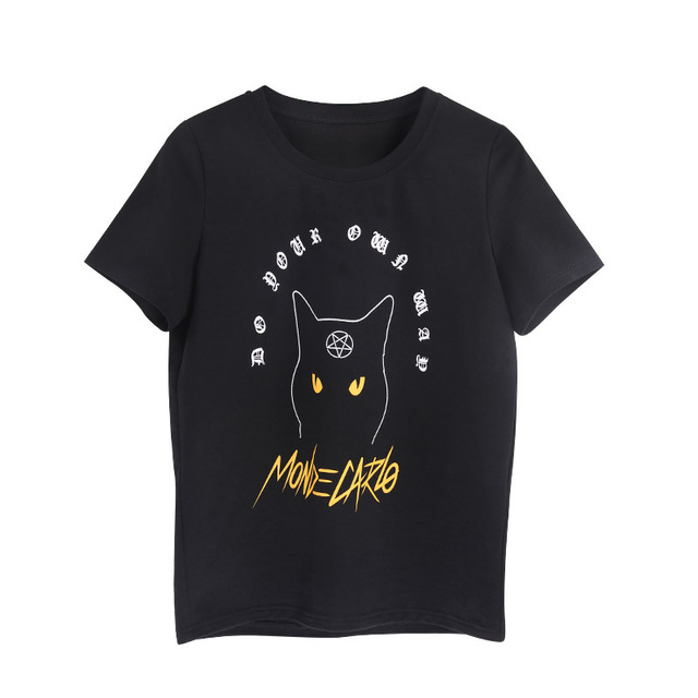 44dd6554294 Summer Women T Shirts Gothic Pentagram Symbol Pattern Cat Printing Harajuku  Casual Short Sleeve Tumblr Female