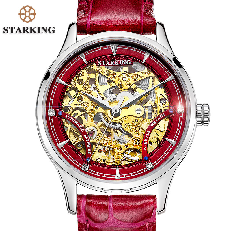 STARKING Red font b Women b font Automatic Mechanical Skeleton Watches Relogios Luxury Famous Brand Genuine