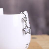 Star Opal CZ Piercings Jewelry Womens Sexy Belly Button Ring Long Dangle Clear Navel Bar Gold