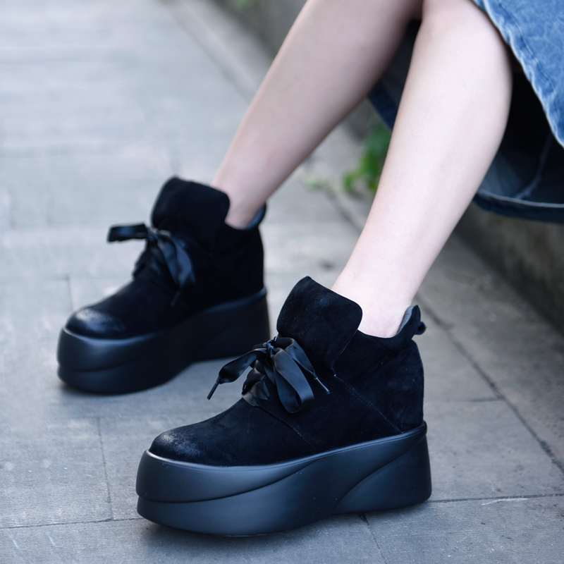Artmu New Women Shoes Flat Platform High Top Boots Outdoor Sneakers Handmade Genuine Leather Shoes Woman Black Fashion artmu цены