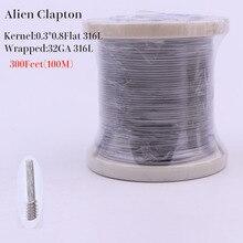 XFKM 316L 100m(300 pieds)/rouleau Alien fondu Clapton tigre fil cigarette électronique rda chauffage bobine résistance pour bricolage atomiseur