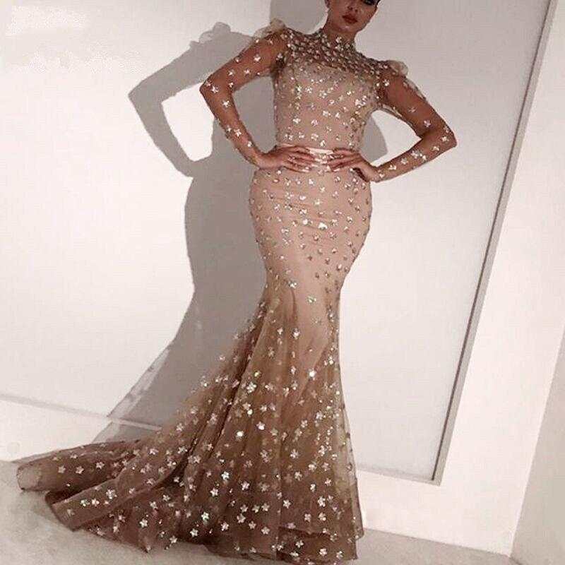 Elegante champanhe 3d flor sereia vestido de noite gola alta mangas completas longo muçulmano vestidos de noite formal vestido robe de soiree - 4