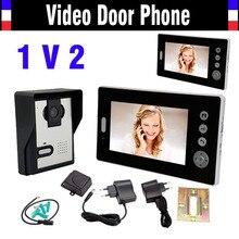 """Sistema inalámbrico de intercomunicación Video teléfono de la puerta 7 """" de portero automático Intercom timbre Video de la puerta campana de timbre inalámbrico con cámara 1V2"""