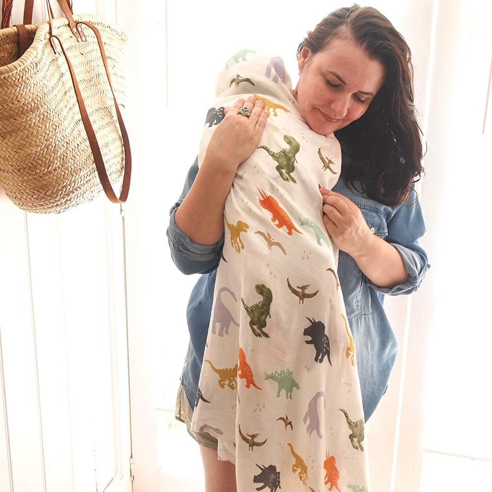 Newborn 100% Cotton Bamboo Baby Muslin Swaddle Wrap Blanket Dinosaur Patterns Multi-use Baby Bath Shower Towel Blanket