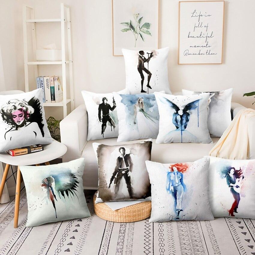 Watercolor Figure Illustration Printed Pillowcase Cotton Linen Cushion Decorative Pillows Home Decor Sofa Throw Pillow 45*45cm