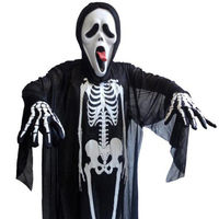 Хэллоуин череп маска дьявола костюм скелета призрак одежды классические костюмы на Хэллоуин Christma Платье для косплея маскарадная одежда