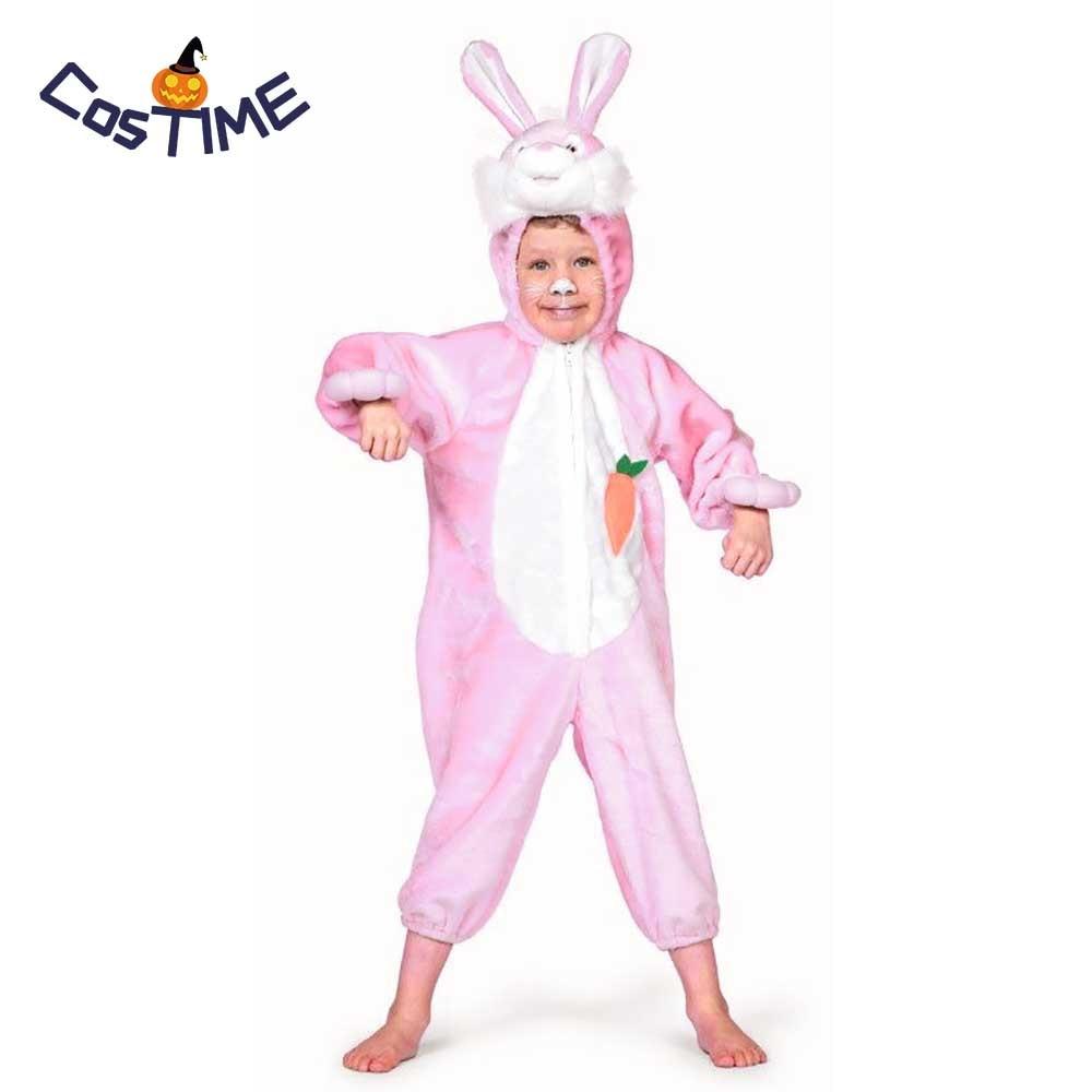 Piccolo Pink Bunny Costume per I Bambini Del Coniglio di Peluche Vestito Operato Animale Tute monopezzo I Amore Carota Della Tuta Dei Pigiami di Pasqua Halloween Costume