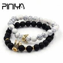 2Pcs/Set Natural Lava Howlite Stone Beads Stretch Mala Bracelet CZ Crown Charm Bangle Sets Pulseras Masculina For Men
