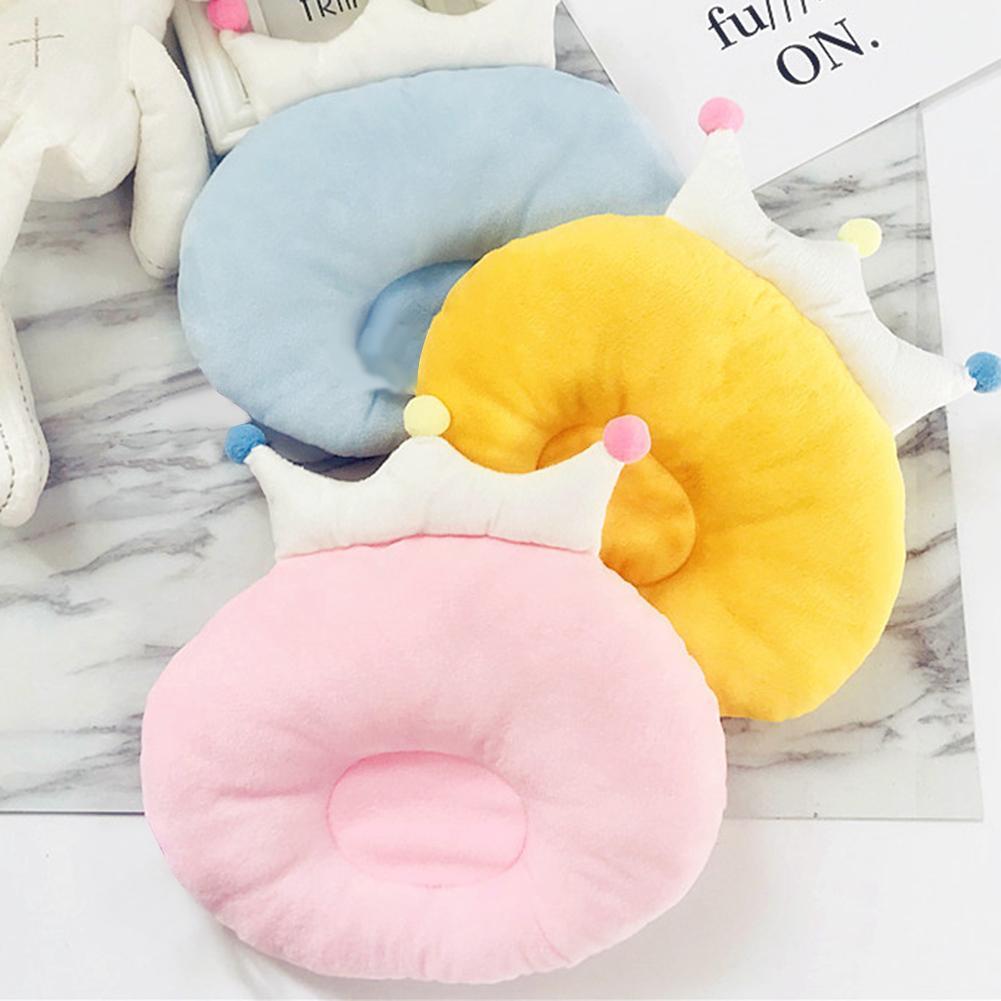 Cute Crown Cushion Infant Newborn Anti Roll Baby Pillow Flat Head Neck Infant Cotton Pillows Velvet Cotton Cushion Positioner