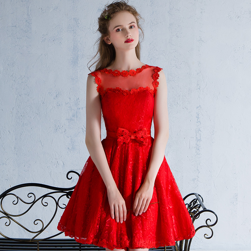 SSYFashion 2017 New The Bride Banquet Elegant Red Lace Cocktail Dress Short  Sleeveless Sweet Girl Party Gown Custom Formal Dress-in Cocktail Dresses  from ... 766c446a4163