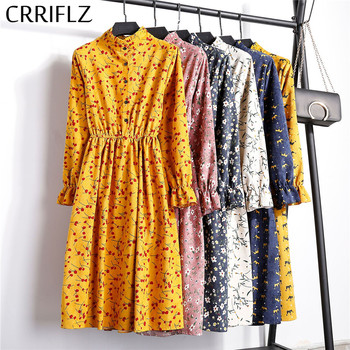 High Elastic Waist Corduroy Vintage Dress A-line Women Full Sleeve Flower Plaid Print Dresses Slim Feminino CRRIFLZ 2
