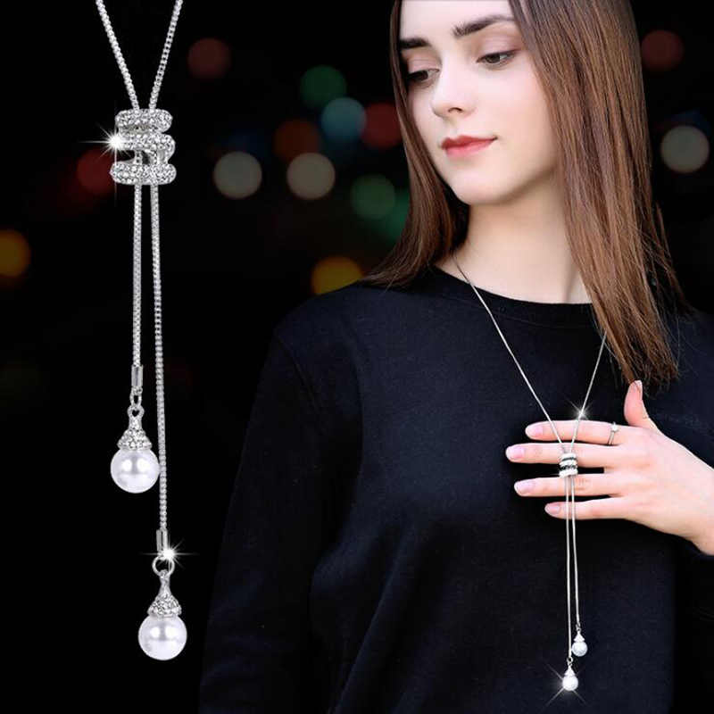 RAVIMOUR Simulated Pearl Choker Necklaces for Women Silver Color Chain Long Necklace Pendant Jewelry Accessories Trendy Kolye