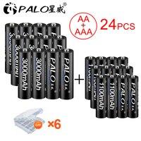 PALO 12PCS 3000mAh 1.2V NI MH AA Rechargeable Battery+12PCS 1100mAh AAA rechargeable batteries for camera flashlight toy car MP3