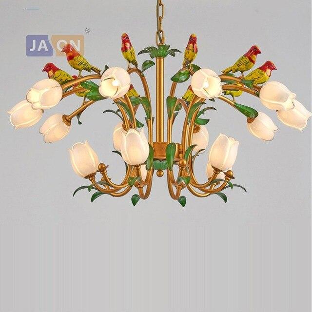 De Techo Pour Verre Lampen Luminaire Foyer Fer Chambre Oiseau Led Éclairage Lustre Postmoderne Fleur G9 Suspension Lampara m0nyN8vwO