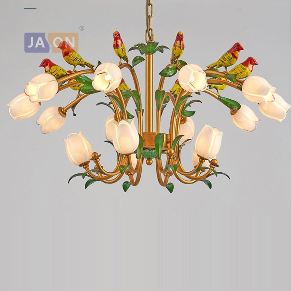 g9 led Postmodern Iron Glass Flower Bird Chandelier Lighting Lamparas De Techo Suspension Luminaire Lampen For Foyer Bedroom