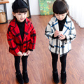 causal baby girl overcoat jacket elegant  thick plaid jacket coat  for 2-8yrs girls kids children thick warm outerwear clothes