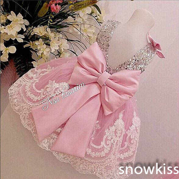 Sliver Bling Sequin Pink White Lace Backless flower girl dresses with Bow baby Birthday Party Dress wedding occasion ball gowns