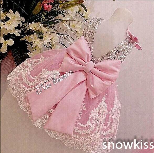 Argent Bling Sequin rose blanc dentelle dos nu robes de demoiselle d'honneur avec nœud bébé fête d'anniversaire robe de mariage occasion robes de bal