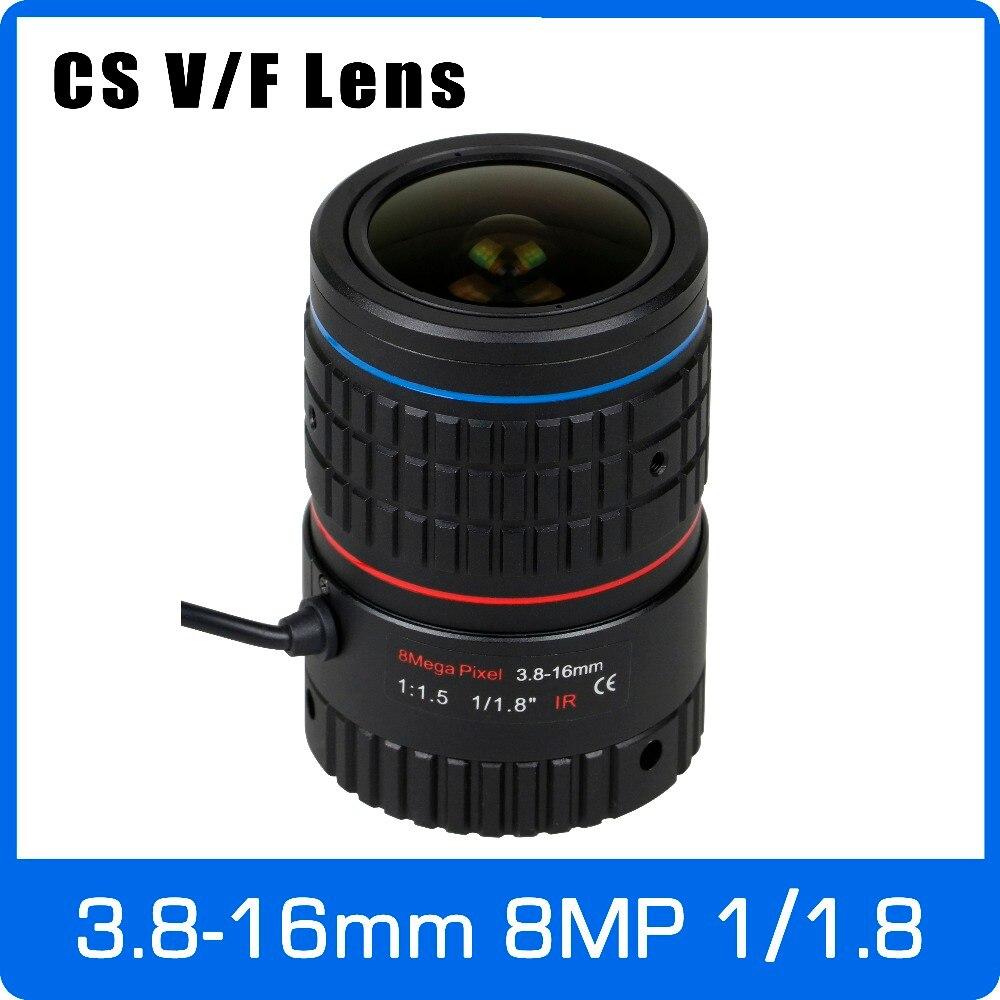 8 megapíxeles Varifocal CS montaje 4 K lente 1/1. 8 pulgadas 3,8-16mm DC IRIS para SONY IMX185/226/178 reconocimiento facial caja cámara/ 4 K Cámara
