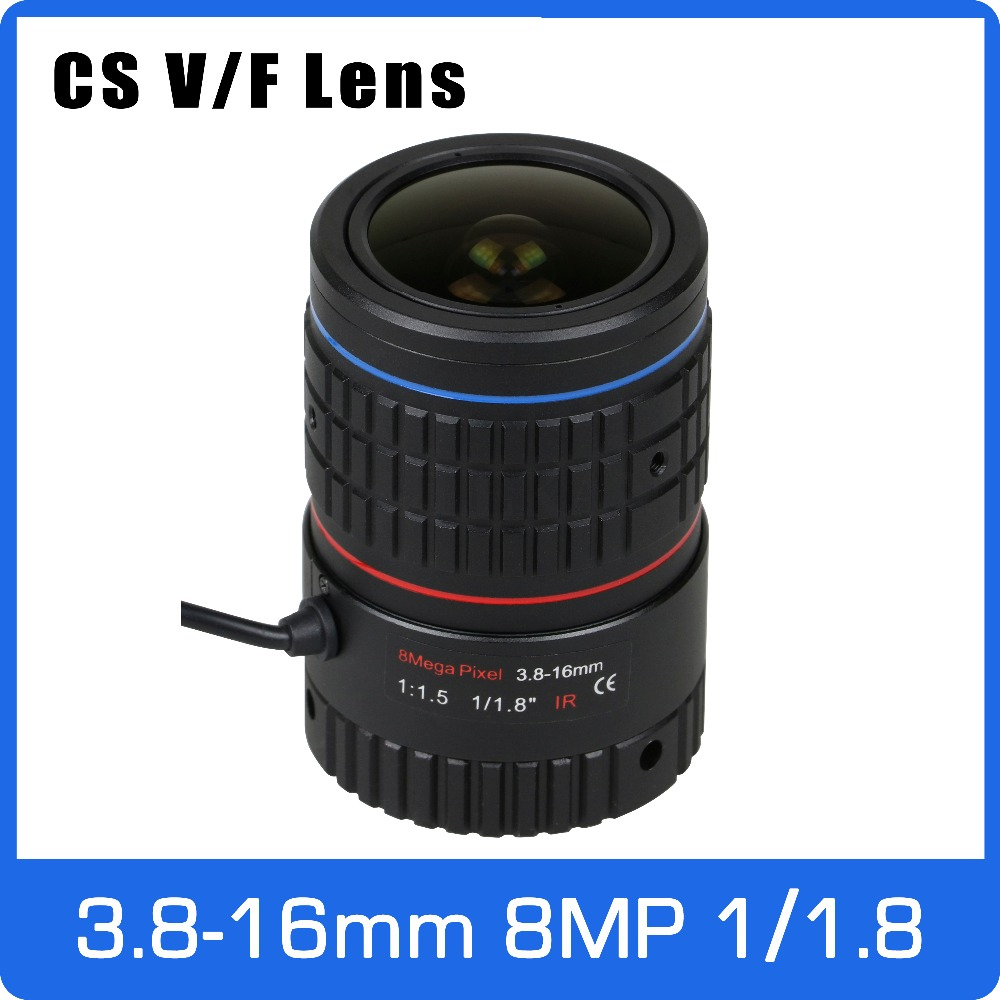 8Megapixel Varifocal CS Mount 4K Lens 1/1.8 inch 3.8-16mm DC IRIS For SONY IMX185/226/178 Face Recognition Box Camera/4K Camera 3megapixel dc auto iris varifocal cctv lens 1 1 8 inch 4 18mm c mount for sony imx185 1080p box camera ip camera free shipping