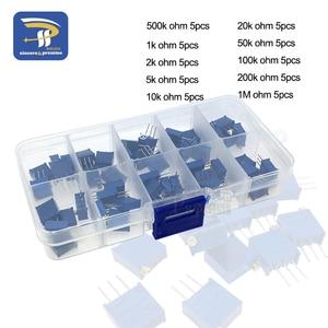 50Pcs/Lot 3296W Multiturn Trimmer Potentiometer Kit High Precision 3296 Variable Resistor 1K 2K 5K 10K 20K 50K 100K 200K 500K 1M(China)