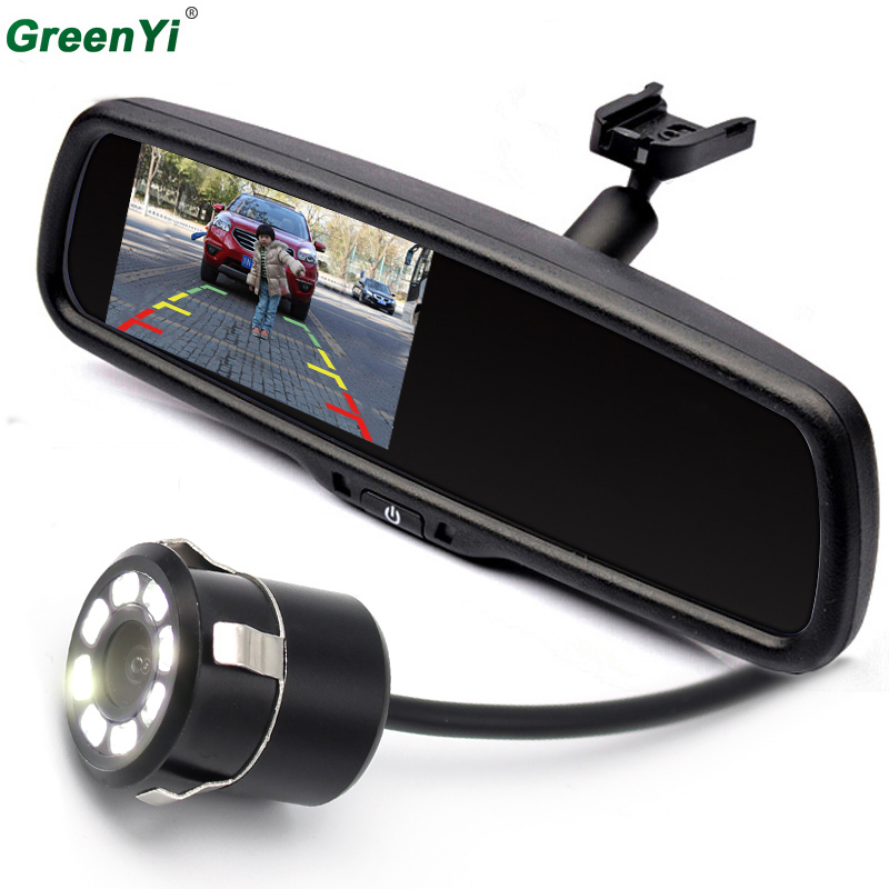 GreenYi 4 3 TFT LCD Car Parking Rearview Mirror Monitor 2 Video Input For Rear View