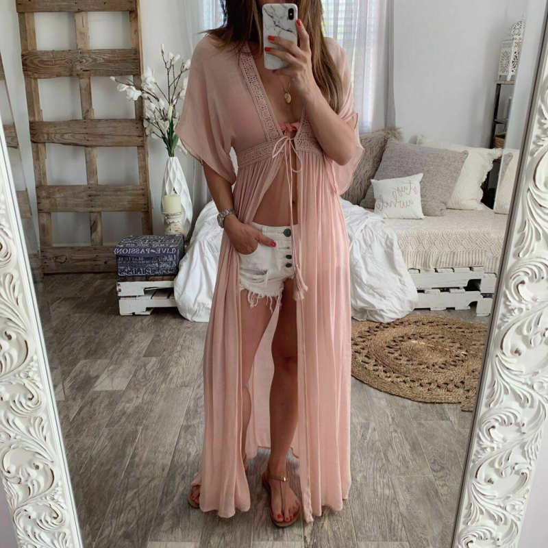 2019 Women Summer Bathing Suit Solid Color Summer Hot Female Chiffon Bikini Cover Up Swimwear Beach Long Dress