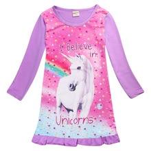 spring Unicorn girl children Long sleeves sleepingwear children's dress nightgowns for girls Pyjamas Clothes Princess Dress