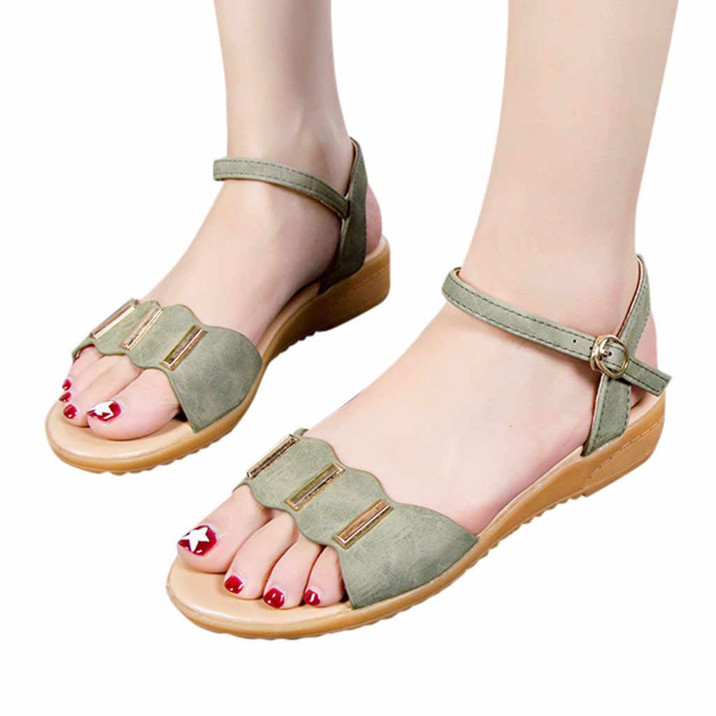 bas prix e6d48 0cef0 Femmes sandales 2019 plate-forme et sandales plates épaisses chaussures  d'été sans lacet de mode romaine sandales décontractées sapatos femininos #3