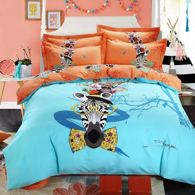 blue and orange duvet cover zebra print comforter sets teen and men and  girl bed set fashion comforter bedding set roupa de cama