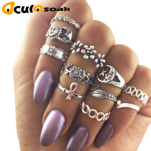 11 Pcs/Set Bohemia Wedding Ring Vintage Sun Moon Star Crystal Flower Cross Leaf Hollow Laciness Ring For Women R010 vintage cross hollow design alloy ring for women