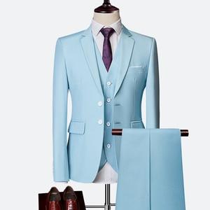 Suit 3 piece set (suit + pants + vest) men's solid color two button suit  men's wedding groom dress men's  business casual suits