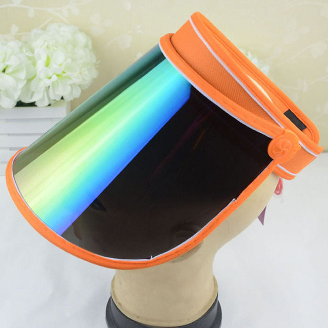 Summer Holiday Sun Hat Sun Visor Sunvisor Party Casual Unisex Hat Spring  Autumn Red Green Clear Plastic Solid AdultCap wholesale 79760bb79ca1