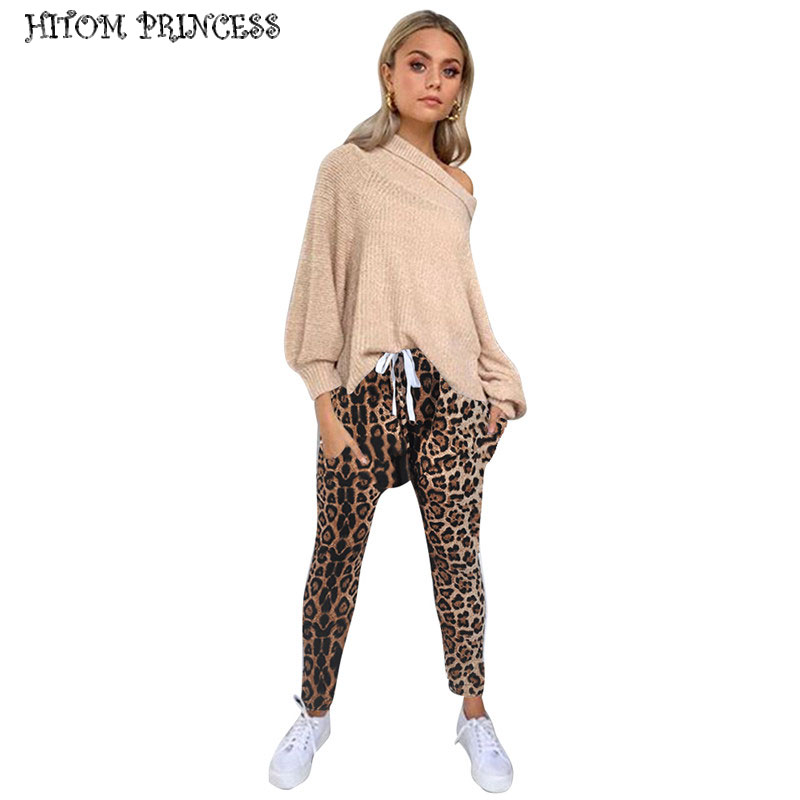 HITOM PRINCESS Leopard Print Skinny Harem   Pants   Women Drawstring High Waist Casual   Pants   Female Sexy Party Cargo   Pants     Capris
