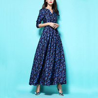 Autumn and Winter Fashion Deep Blue Print Maxi Dress V-neck Long-sleeved Ultra Long Dress Luxury Retro Slim Floor-length Dresses