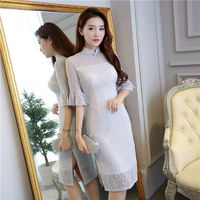New Arrival của Stylish Nữ Đầu Gối Dài Sườn Xám Thời Trang Ngắn Trung Quốc Ren ăn mặc Cái Yếm Vestido Kích Thước S M L XL XXL XXXL 23580C