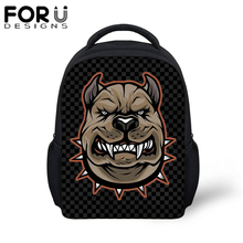 FORUDESIGS Cartoon Pitbull Dog Small School Bags For Baby Boys 12 inch Backpack Children Kids Kindergarten Schoolbag