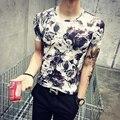 Summer camiseta resistente homme verano viento delgado hombres de manga corta T-shirt de Impresión de Tinta flor de compresión camisa casual Fitnessshark