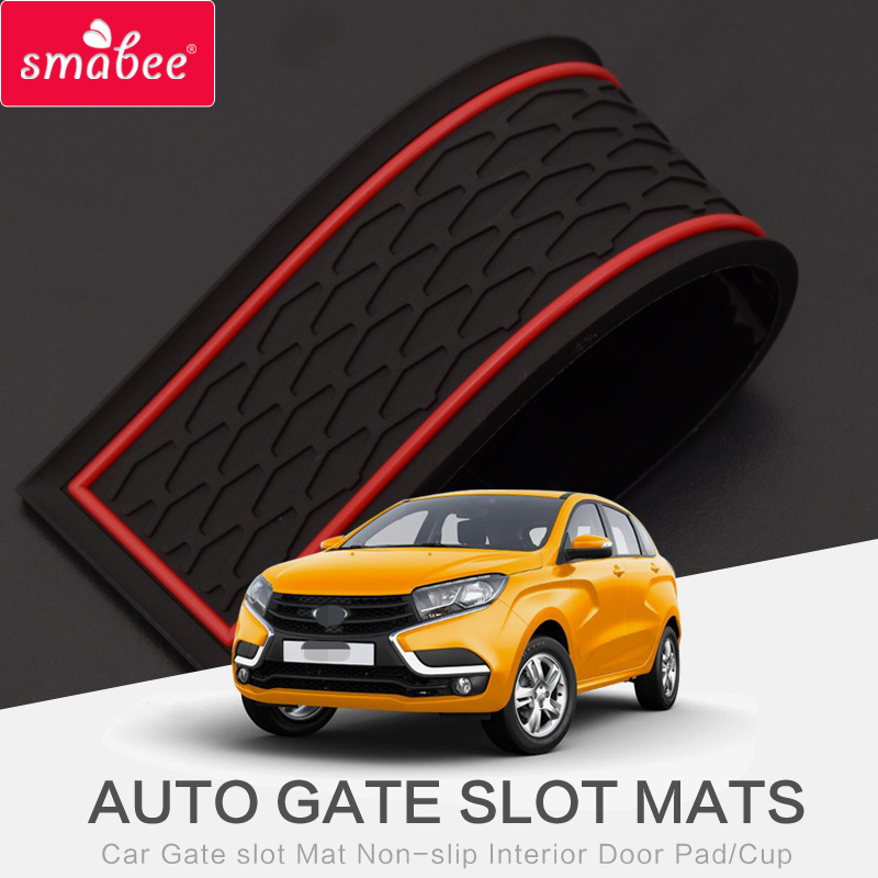 Smabee Gate Slot Pad Interior Door Pad/Cup For LADA XRAY 2016-2017 Non-slip Mats Red/black/white Mats