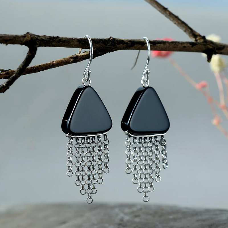 Ruifan Vintage Triangle Black Agate Hanging Earrings for Women 100% 925 Sterling Silver Tassel Earrings Stones Piercing YEA103 pair of vintage alloy emboss beads triangle earrings for women