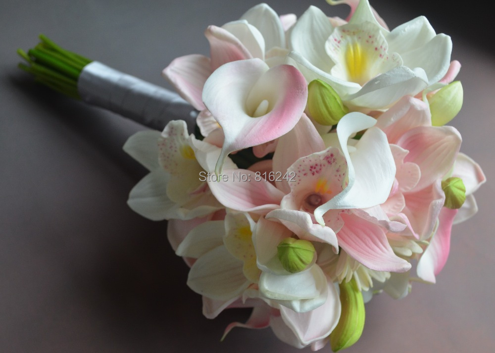 Real Touch Flowers Sweet White  Pink Cymbidium Orchids