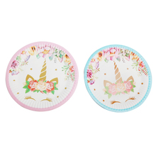 10 PCS 7inch Cartoon Unicorn Pink&Blue Disposable Environmental Protection Paper Plates Birthday Supply For Kids Baby Shower