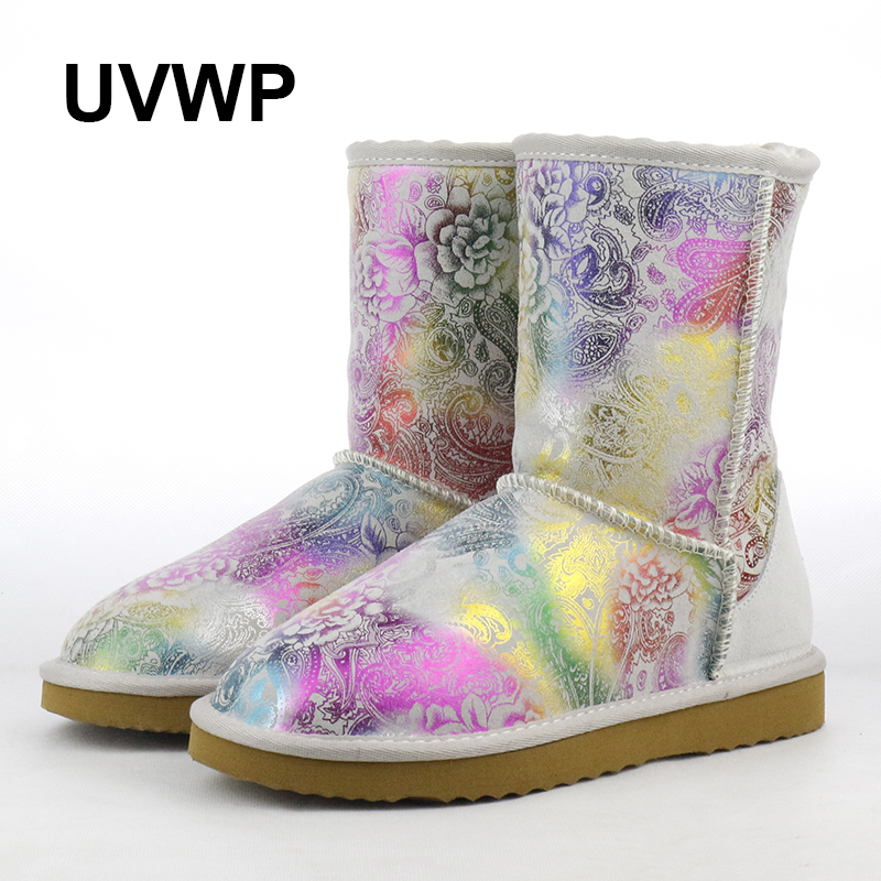 Top Quality Fashion Waterproof Snow Boots Women Boots Genuine Cow Leather Warm Winter Boots Female Shoes