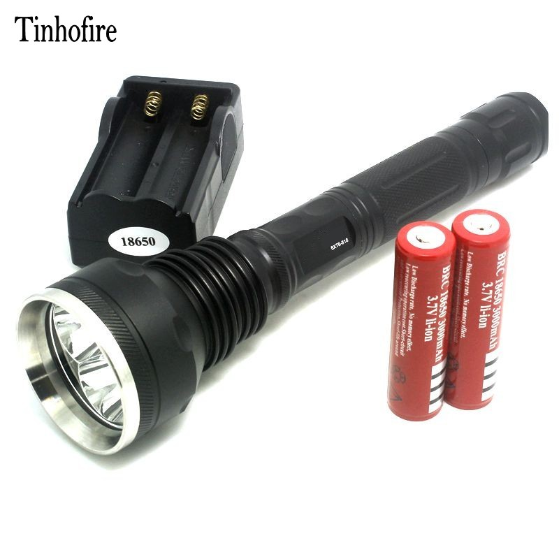Tinhofire 3T6 4000 Lumens 3x CREE XM-L XML T6 LED Flashlight Torch Light 818+2*3000Mah 18650 Battery+1*Travel Charger cost price cree xm l 3 t6 4000 lumens led flashlight torch portable flash light spotlight for hunting charger 2 18650 battery