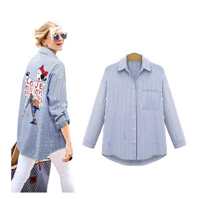 2016 New Summer Women  Blouses  One Pocket Turn-down  Full Sleeves Plus Size Casual Shirts Fashion Women Shirts HOT Sale 160A 20
