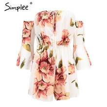 Simplee Sexy off shoulder boho floral romper Flare sleeve high waist chiffon short jumpsuit Summer beach casual macacao feminino