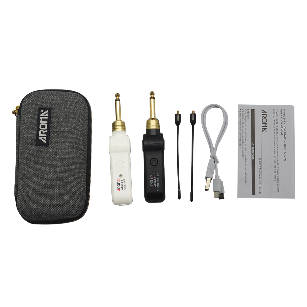 AROMA ARU 03 UHF Wireless Guitar Transmitter Audio Transmission System Electric Guitar Transmitter Receiver Set Built