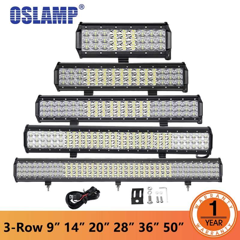"""Oslamp 9""""12"""" 14"""" 20"""" 23"""" 28"""" 36"""" 44"""" 50"""" 3-Row LED Light Bar Offroad Combo Led Work Light Bar DC 12v 24v Truck SUV ATV 4WD 4x4"""