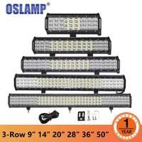 Oslamp 9 12 14 20 23 28 36 44 50 3 Row LED Light Bar Offroad