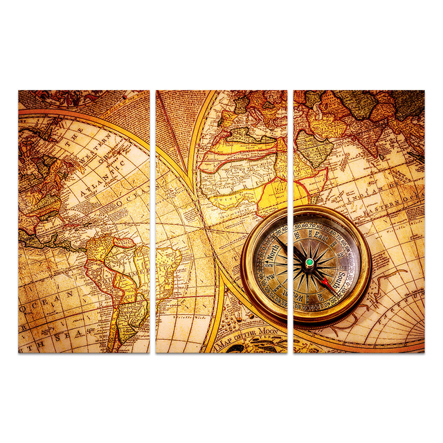 World Map Canvas Prints Vintage Map And Compass Modern Giclee Canvas ...